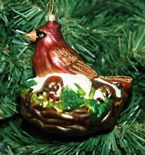 Red Bird, Cardinal Glass Christmas Ornament
