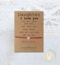 *Daughter I Love Wish Bracelet* Friendship Card Gift Birthday Mother Mum Girl