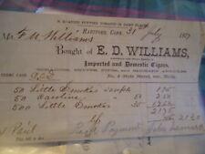1877 E.D.Williams Cigars Hartford Connecticut Bill Head