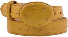 Kids Yellow Ostrich Western Belt Dress Pattern Leather Unisex Round Buckle