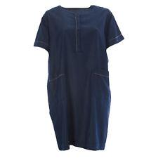 MARINA RINALDI Women's Blue Decidere Stitch Detail Shift Dress $450 NWT