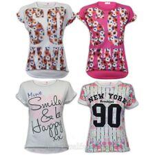 ragazze maglia bambini t shirt Paillettes New York stampa floreale