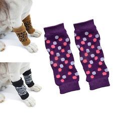 4Pcs/Set Winter Pet Dog Leg Socks Zebra Leopard Dots Print Leg Warmers Sanwood