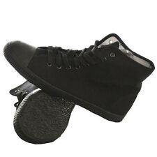 NEGRO ALTO Con Cordones Lona Zapatillas Hombre Mujer Plimsolls NUEVO
