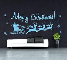 Merry Christmas Santa Wall Art Sticker / shop window Xmas sleigh UK   SH228
