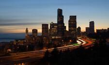 SEATTLE WASHINGTON SKYLINE GLOSSY POSTER PICTURE PHOTO PRINT night view usa 3760