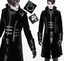 Gothic Viktorianisch Steampunk Mantel Samt Riemen leder Nieten PunkRave Herren