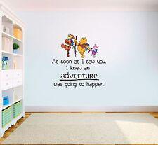 Winnie the Pooh Adventure Quote Vinyl Wall Art Kids Nursery Sticker LSD10