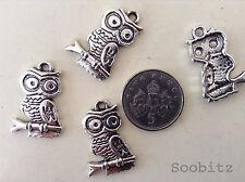 10, 25 ou 50 tibetan silver bird Hibou Pendentif Charms Bead trouver - 15x21mm