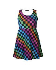 Girl's Children's Rainbow Multi Check Squares Sleeveless Skater Dress 5-10 Yrs