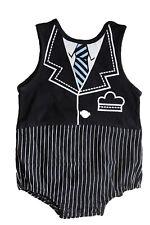 StylesILove Tuxedo Striped Tie Print Baby Boy Romper