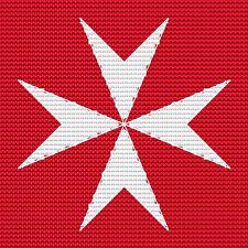 "Maltese Cross Cross Stitch Design (10x10cm, 4x4"", kit or chart, 14hpi)"