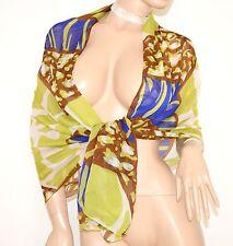 STOLA MAXI donna VERDE BLU BIANCO MARRONE foulard seta coprispalle elegante S6