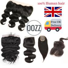 UK Brazilian Lace Silk Frontal Human Hair Closure Straight Natural Body Wave