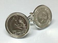 Manschettenknöpfe 50 Pfennig Münze versilbert Kulturfrau BRD 1949-1993 AUSWAHL