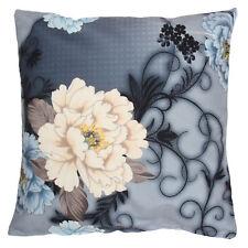 Blume Pfingstrose Ranken Kissenhülle Kissenbezug 40 x 40 cm Filz Grau Braun Blau