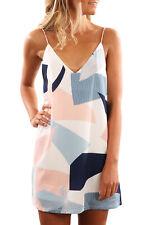 NEW White Blue Colour Block Geometric Print Tunic Mini Dress Size 8 10 12 14 16