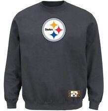 Pittsburgh Steelers MENS Sweatshirt Crewneck Heavyweight Charcoal by Majestic