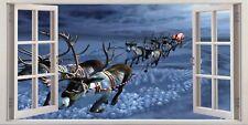 Christmas Santa Ruldolf Sleigh 3D Effect Window Canvas Picture Wall Art Prints