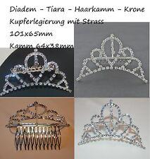 Diademe Tiara Haarkamm Crown Haarkrone Brautschmuck silber Haircomb bridal Straß