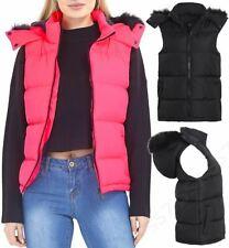 Womens Padded Gilet Bodywarmer Jacket Faux Fur Waistcoat Size 16 14 12 10 8