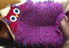 Crochet Hooded Owl Blanket Chunky Throw birthday gift valentines All sizes UK
