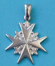 925 Sterling Silver Order Of St. John Maltese Cross Solid Pendant Coat of Arm