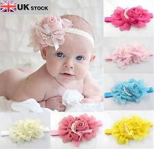New Girls Chiffon Pearl Headband Baby Rose Satin Bow Hairband UK SELLER