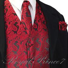 BLACK RED Paisley Tuxedo Suit Dress Vest Waistcoat & Neck tie and Pocket Square