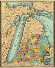 Old State Map - Michigan - Burr 1835 - 23 x 28.38
