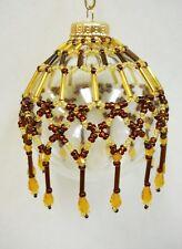"Beaded Christmas Ornament Original Holiday Design ""Tapestry"" w/ Glass Ball a"