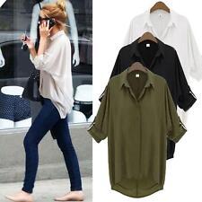 Women Long Sleeve Lapel Collar Casual Shirt Top Chiffon Top Blouse White/Black