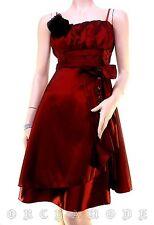 Robe EMAMODA Soirée satin rouge broche bijou Tailles S / M / L 36 38 40  NEUF