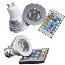 LAMPADINE FARETTI LED LUCE RGB GU10 E27 220V 16 COLORI TELECOMANDO MULTICOLORE