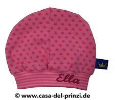 """Baby Mütze """"Sterne rosa/rosa""""  mit Wunschname bestickt aus Baumwolljersey"""