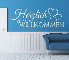 X415 Wandtattoo Spruch - Herzlich Willkommen Welcome Flur Sticker Wandaufkleber