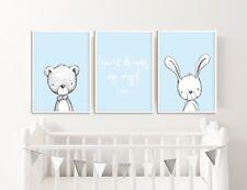 Blue Nursery Decor / Pictures / Prints / Sweet Dreams My Angel / Rabbit & Bear