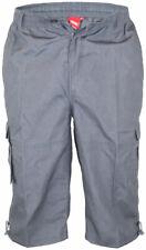 D555 Kingsize Mens Grey Cargo Capri Pant With Leg Pockets (MASON)