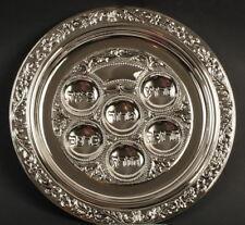 Large Metal Passover Seder Plate, Silver Tone, Jewish Pesach Table Pesah Judaica