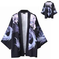 Men Japanese Kimono Cardigan Open Front Loose Oriental Coat Vintage Jacket Retro