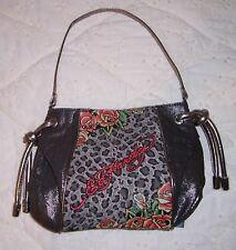 NWT Ed Hardy GABRIELLE Jungle Rose Shoulder Bag Black