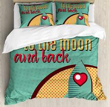 I Love You Duvet Cover Set with Pillow Shams Rocket Love Fuel Print