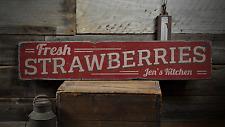Fresh Strawberries, Custom Cook Name - Rustic Distressed Wood Sign ENS1001455