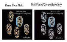 3d Metal Nail Art  Covers/Plates - Finger Tip Jewellery Flower Gem Charms Bling