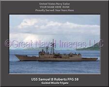 USS Samuel B Roberts FFG 58 Personalized Canvas Ship Photo Print Navy Veteran