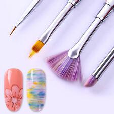 Gradient Drawing Pen Fan Nail Art Brush Halo Pink Rhinestone Handle Manicure
