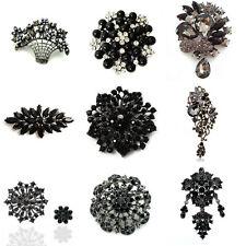 Luxury Black Pearl Rhinestones Crystal Flower Brooch Pin Big Medium Small Size