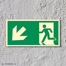 Rettungsweg links abwärts Notausgang Rettungswegschild Schild Nachleuchtend ASR