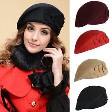 f4c3f0a1cd1 US Vintage Women Cap Winter Warm Wool Felt Solid French Beret Beanie Pillbox  Hat