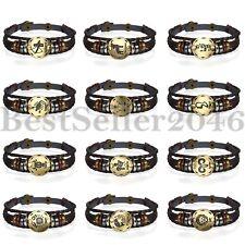 Retro 12 Constellation Zodiac Womens Mens Leather Bracelet Wristband Handmade